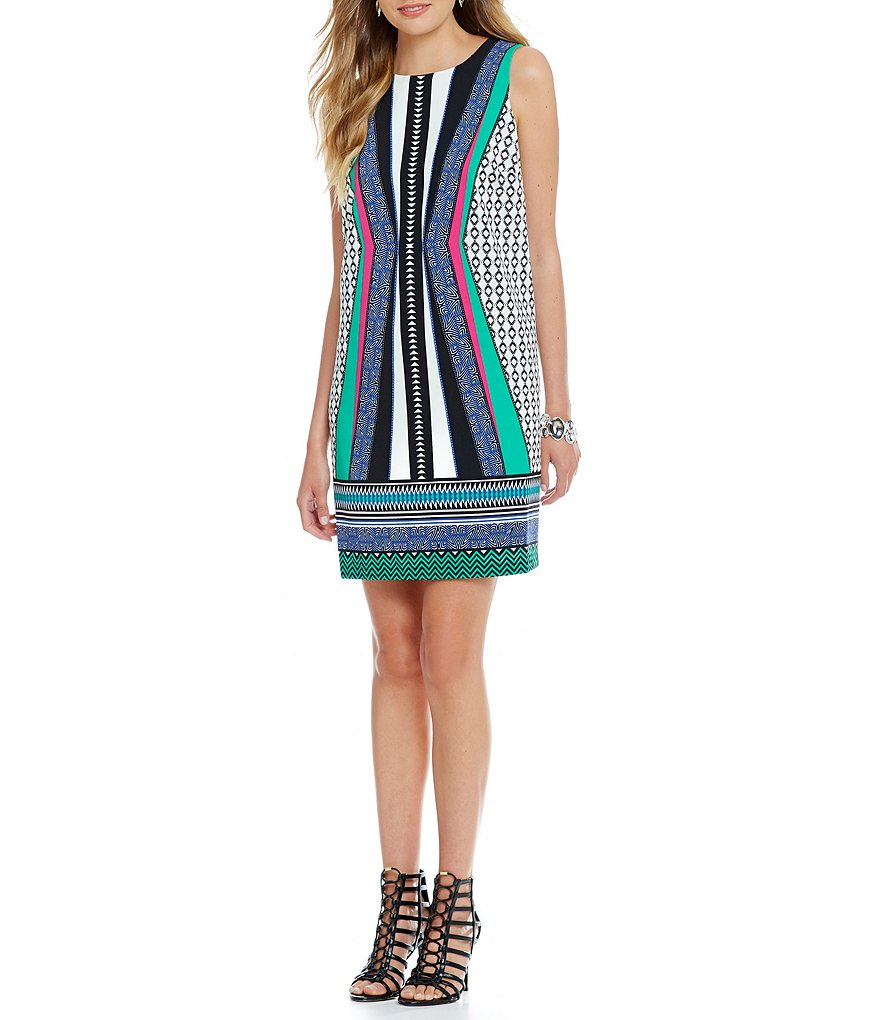 Gibson & Latimer Geometric Sleeveless Shift Dress