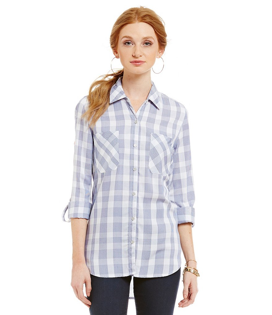 Gibson & Latimer Plaid Collar Button-Down Blouse