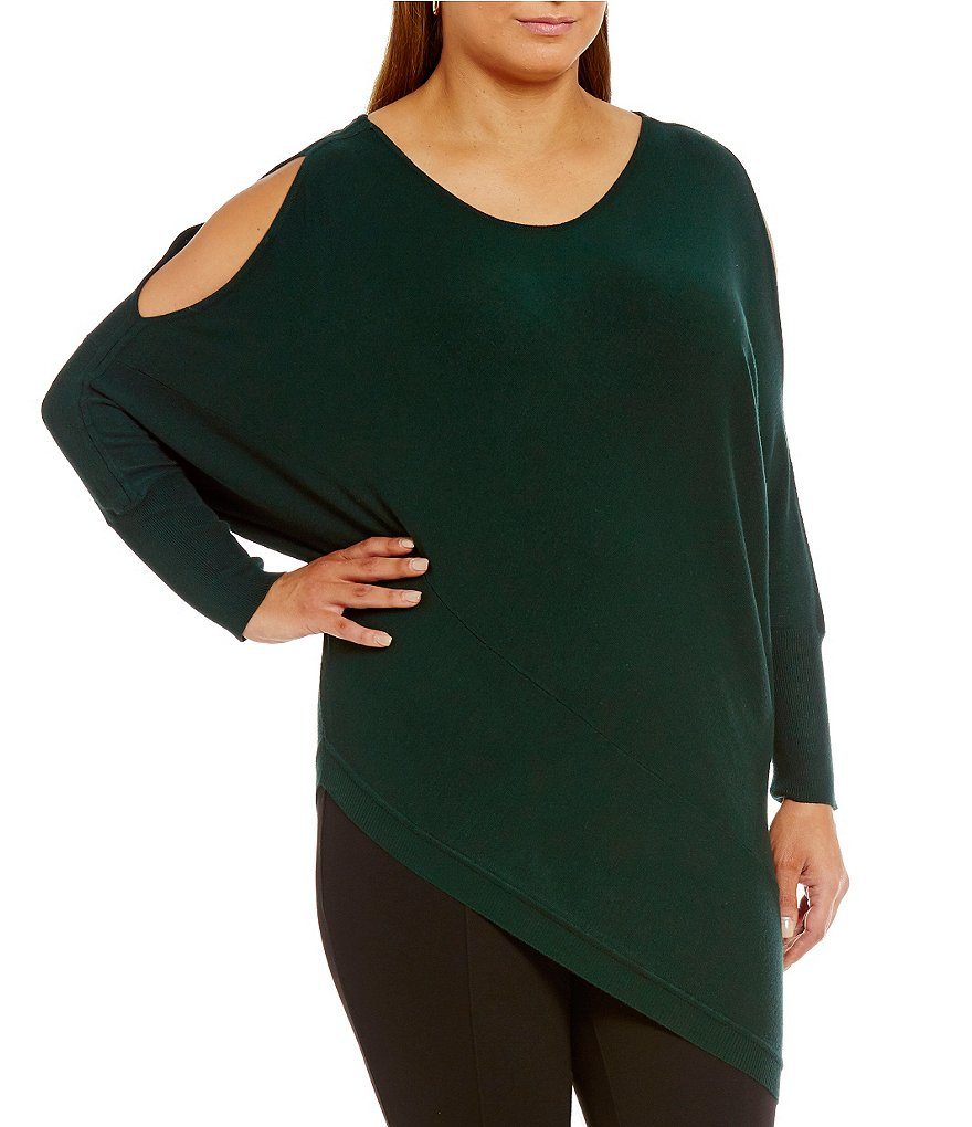 Gibson & Latimer Plus Cold-Shoulder Sweater with an Asymmetrical Hem