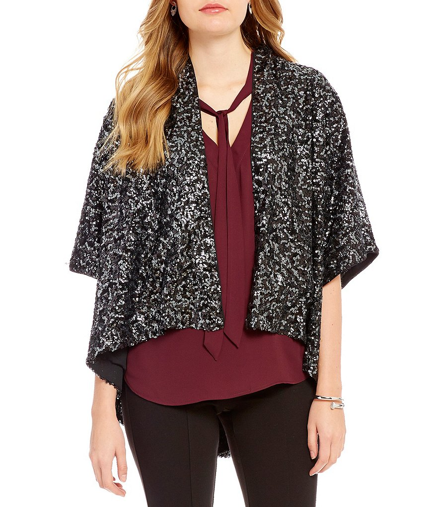 Gibson & Latimer Sequin Short Sleeve Hi-Low Kimono