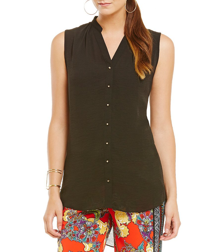 Gibson & Latimer Sleeveless Button-Front Blouse