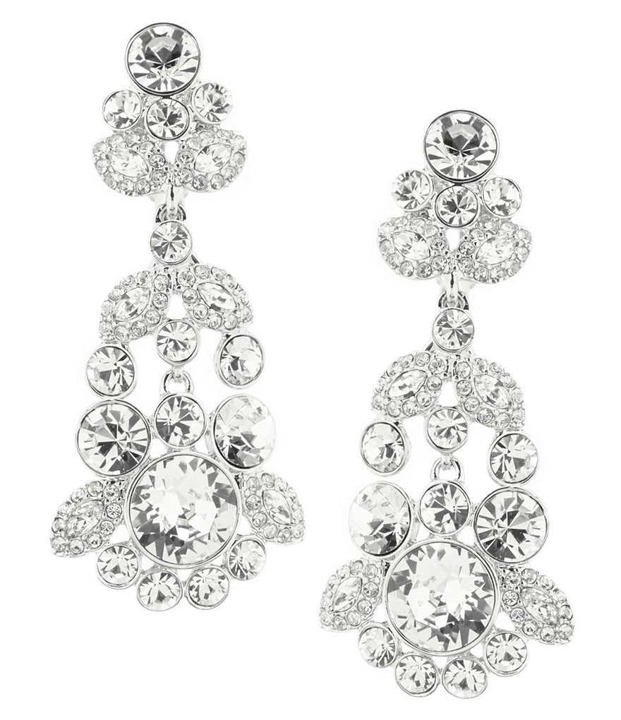 Givenchy Crystal Cluster Chandelier Statement Earrings
