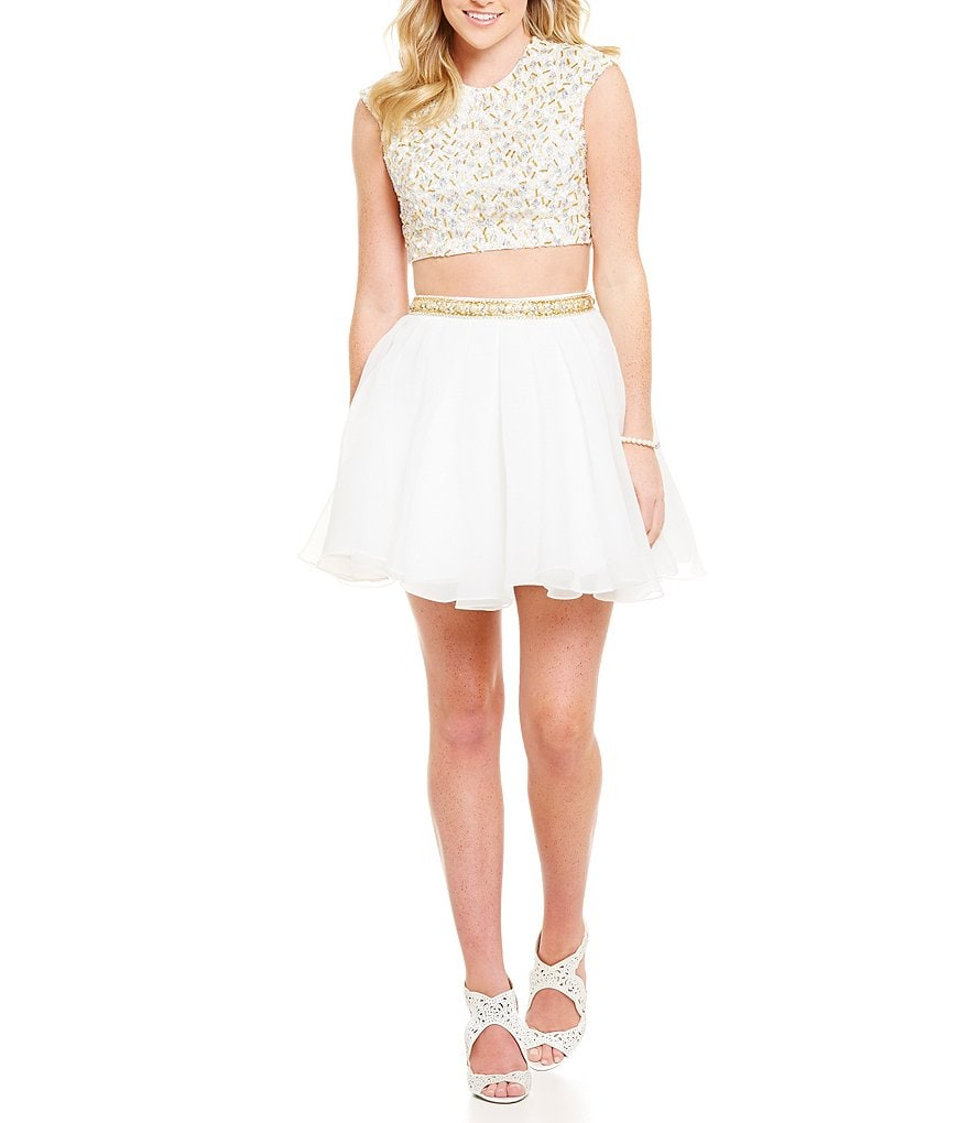 Glamour by Terani Couture Beaded T-Shirt Top Two-Piece Party Dress