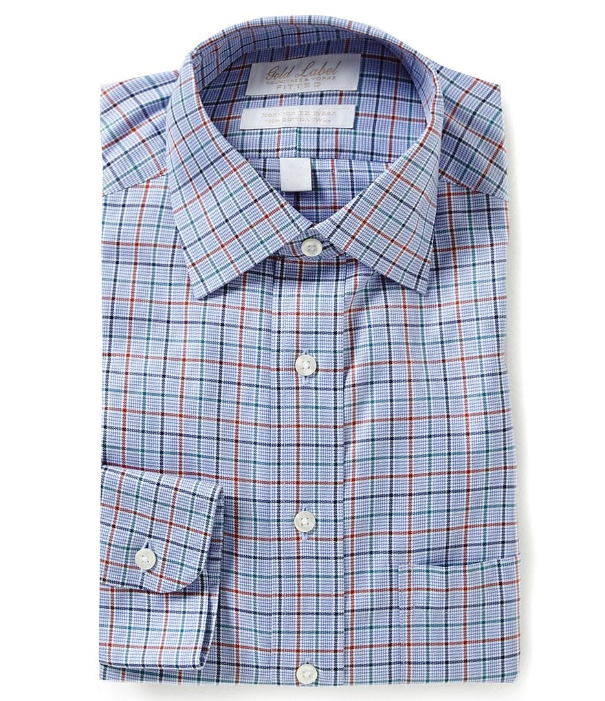 Gold Label Roundtree & Yorke Checked Classic Fitted Checked Twill Dress Shirt