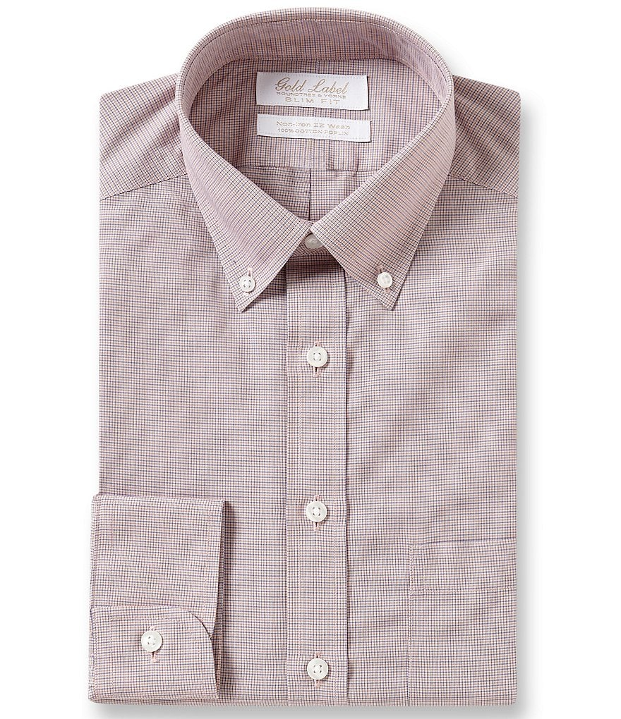Gold label roundtree yorke non iron slim fit button down for No iron slim fit dress shirts