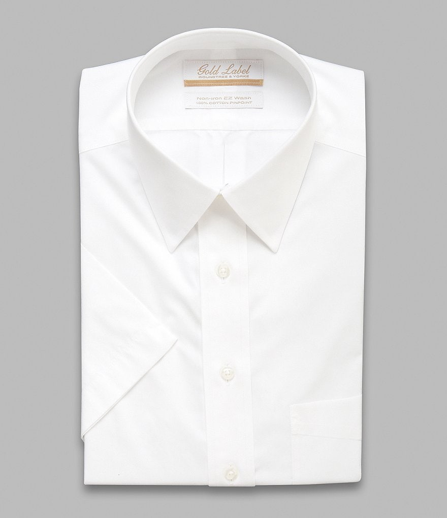 Gold Label Roundtree & Yorke Non-Iron Regular Full-Fit Short-Sleeve Solid Point-Collar Dress Shirt