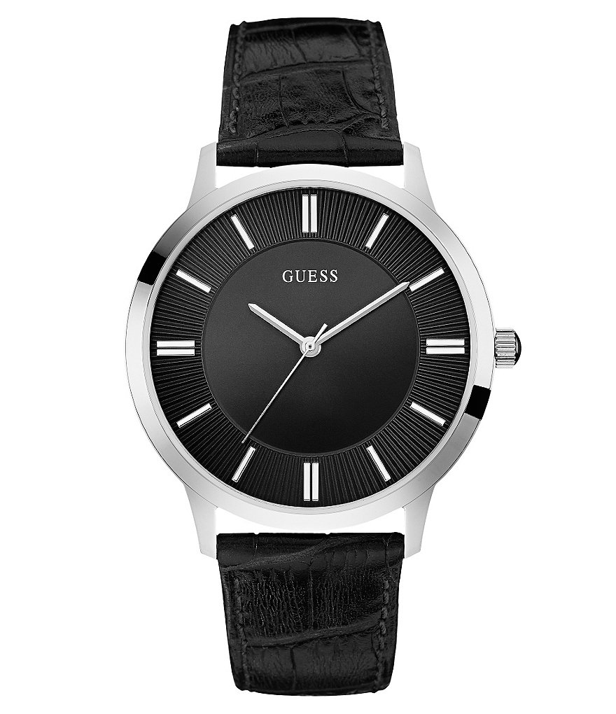 Guess Analog Croco Leather Strap Steel Analog Watch