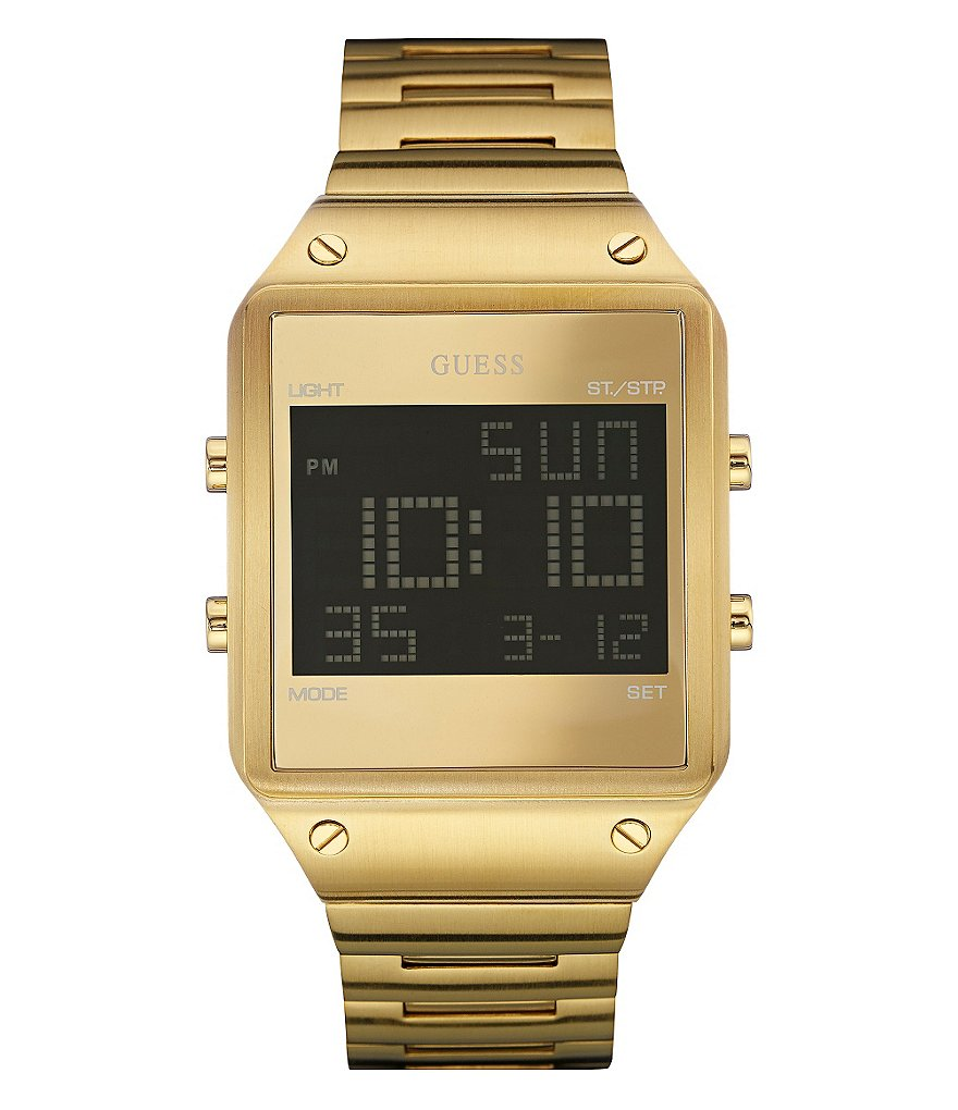 Guess Retro Digital Square Stainless Steel Bracelet Watch