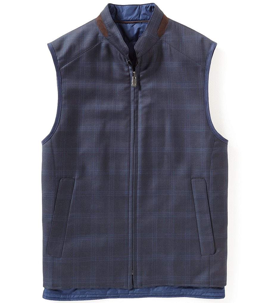Hart Schaffner Marx Full-Zip Solid/Plaid Reversible Vest