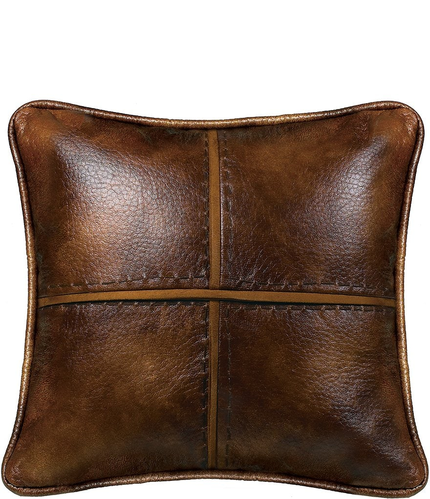HiEnd Accents Hill Country Faux-Leather Square Pillow