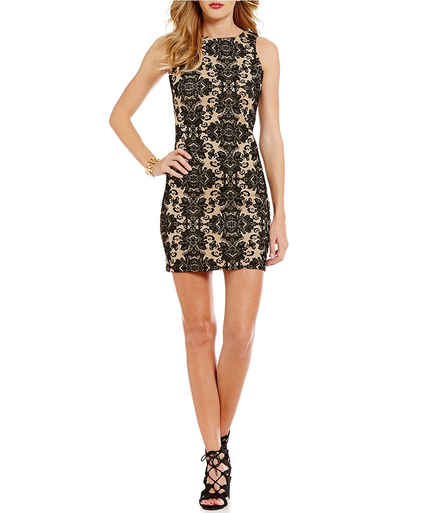 Honey and Rosie Flocked Scuba Sheath Dress