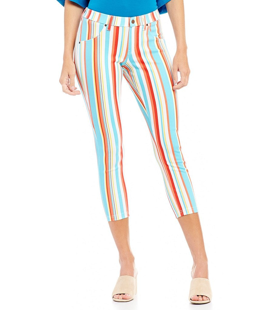 HUE Resort Striped Essential Denim Capri Leggings