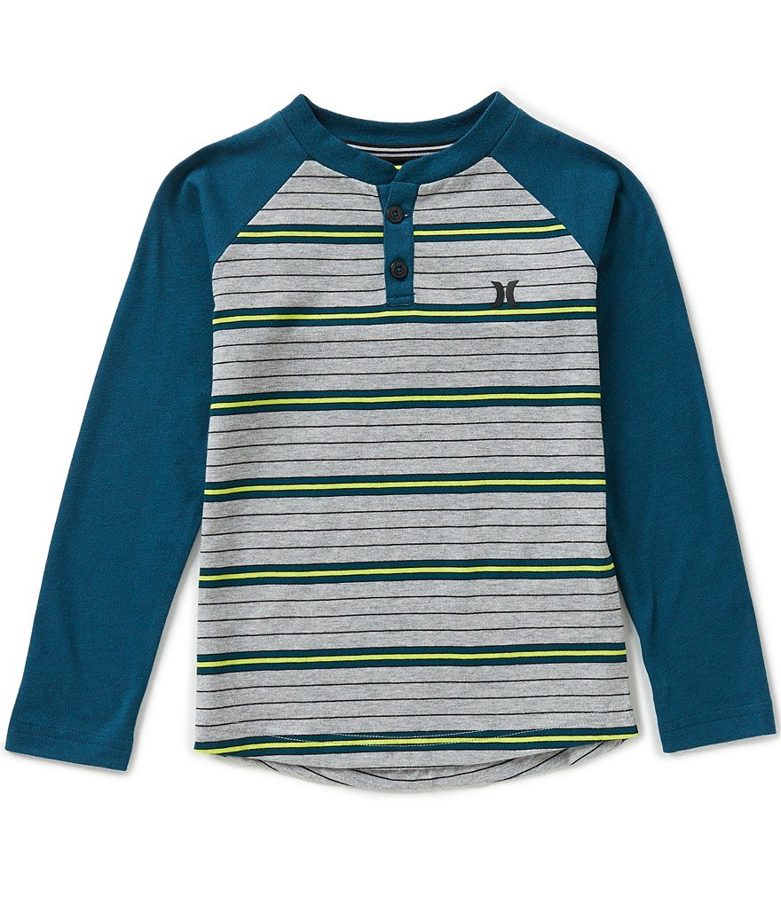 Hurley Little Boys 4-7 Stripe/Color Block Raglan-Sleeve Henley Thermal Tee