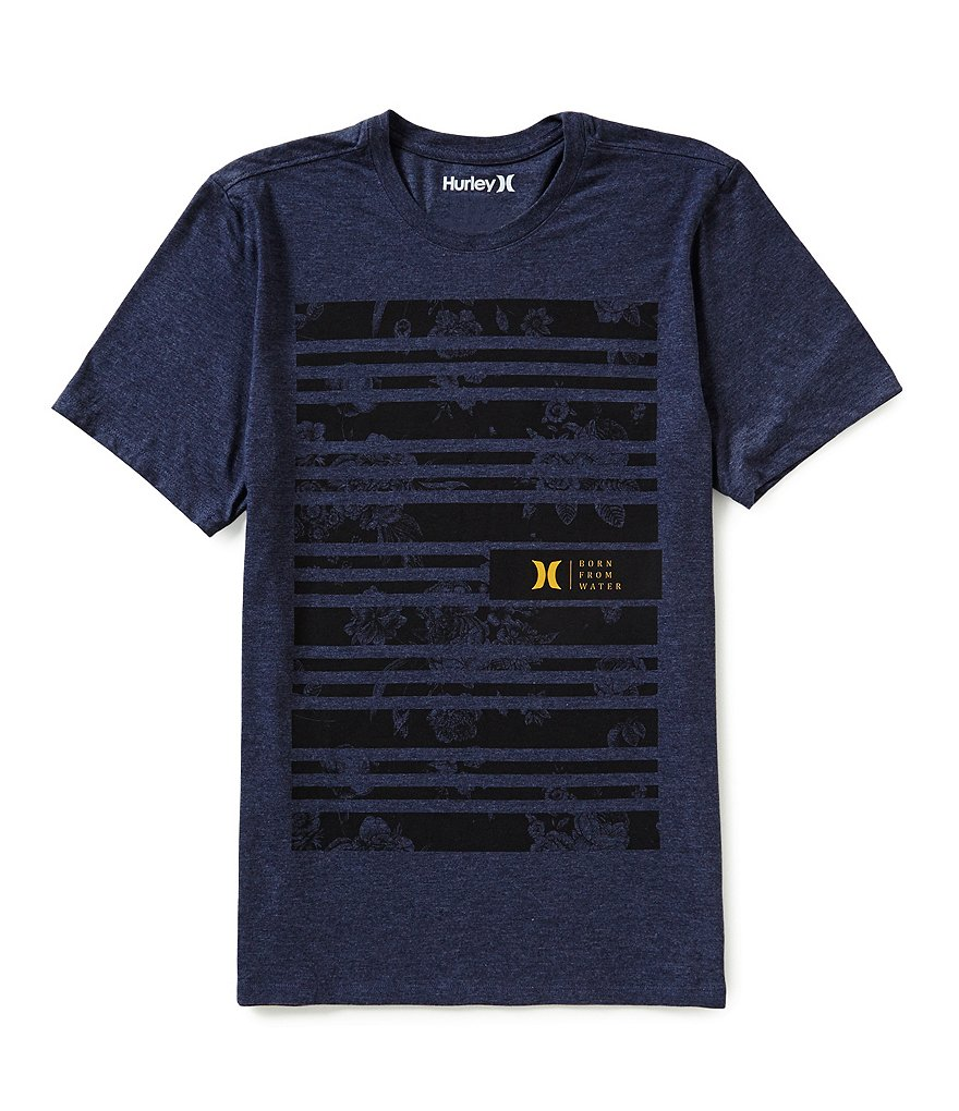 Hurley Striped/Floral-Printed Short-Sleeve Graphic Tee