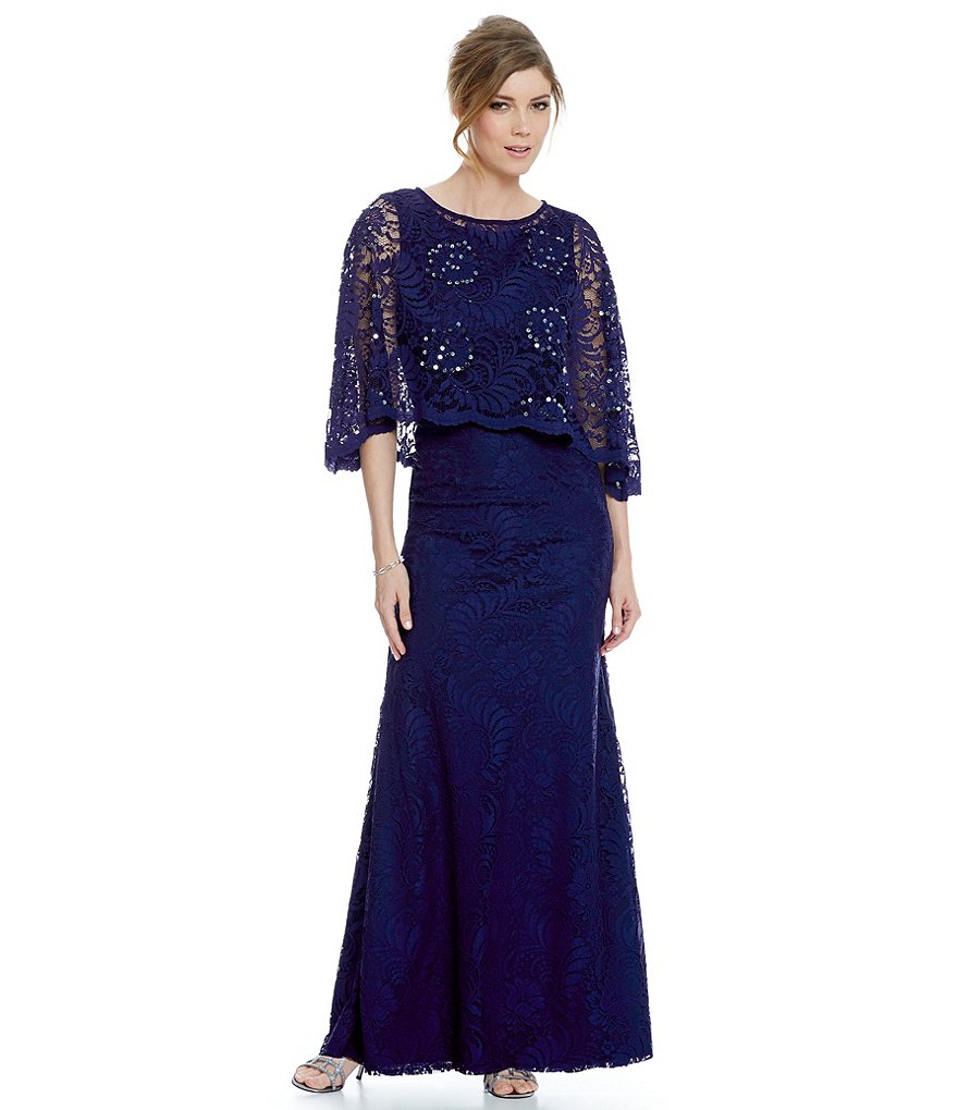 Ignite Evenings Lace Capelet Dress