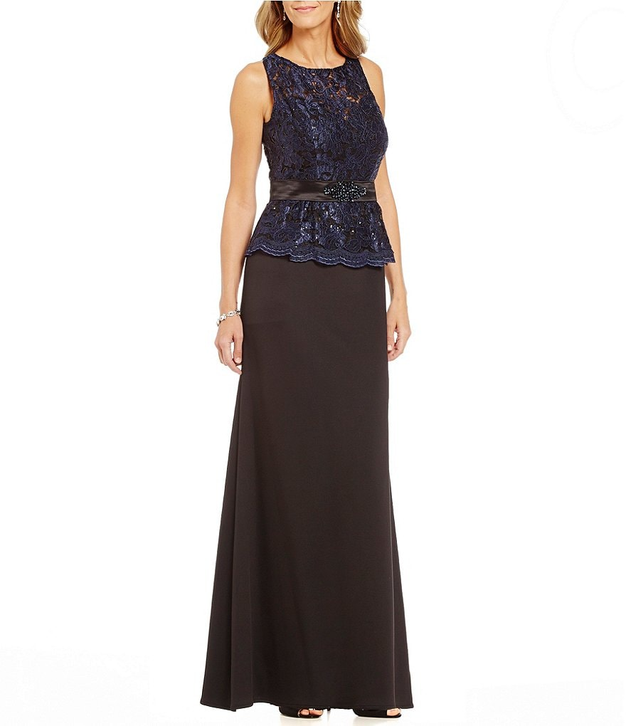 Ignite Evenings Lace Peplum Sleeveless A-Line Gown