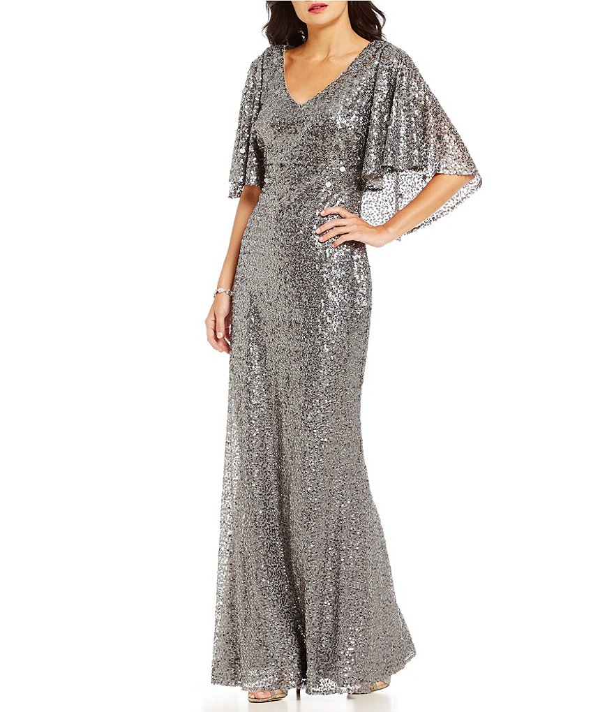 Ignite Evenings V-Neck Back-Cape All Sequin Gown