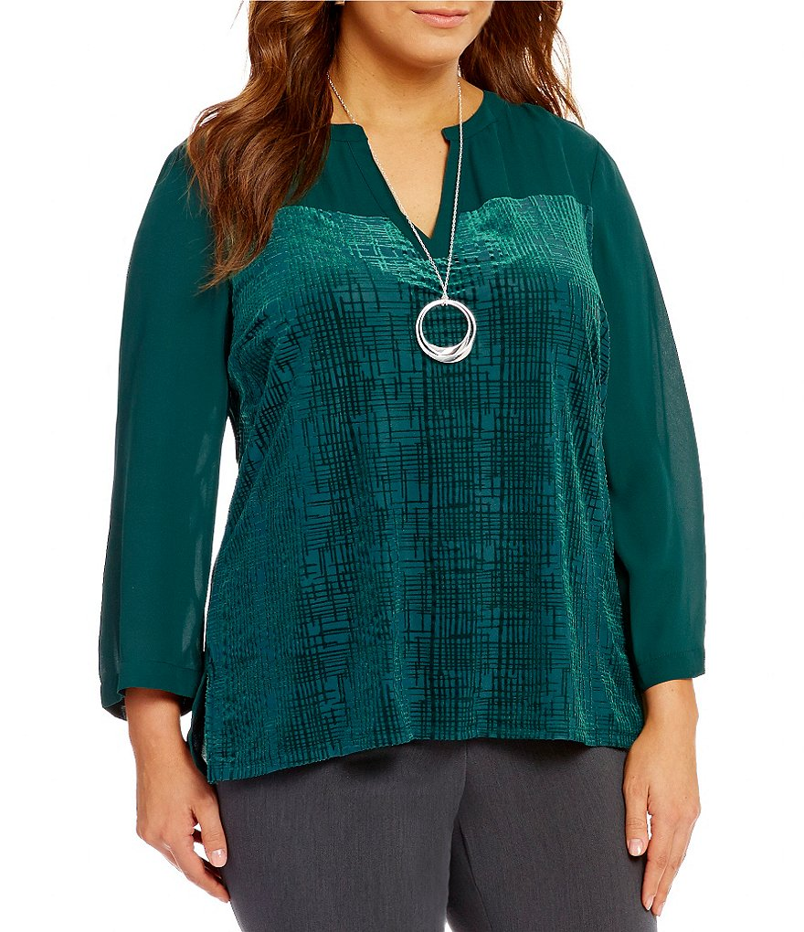 Investments Plus 3/4 Sleeve Burnout Front Blouse