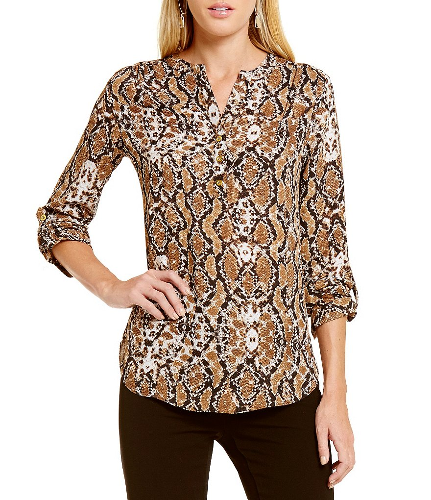 Investments Y-Neck Roll Tab Hi-Low Blouse