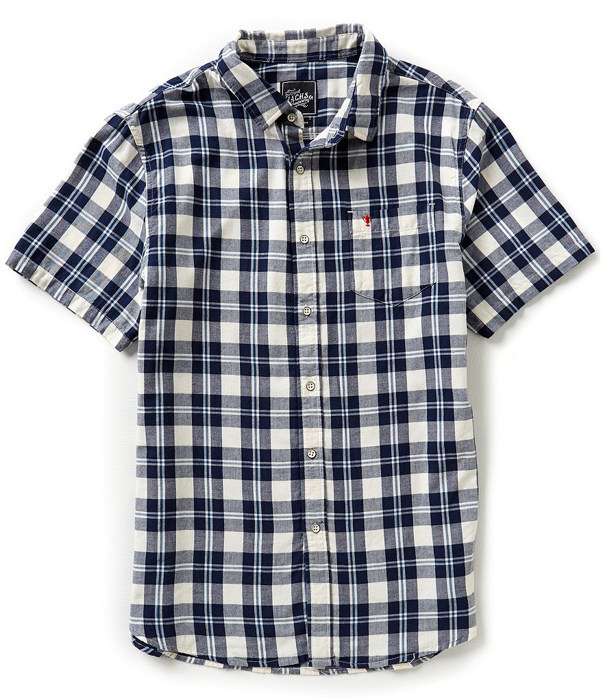 J.A.C.H.S. Manufacturing Co. Yarn-Dyed Plaid Short-Sleeve Sportshirt