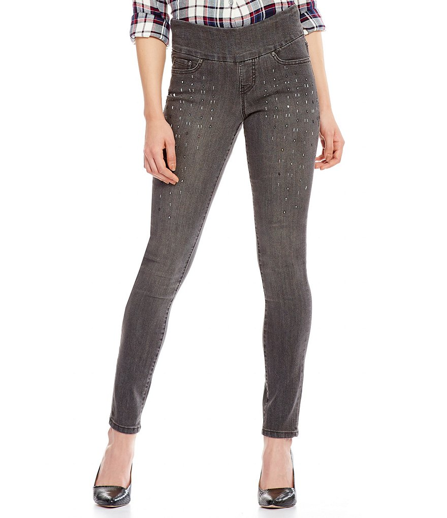 Jag Jeans Nora Pull-On Skinny Jeans with Rhinestone Bling Detail