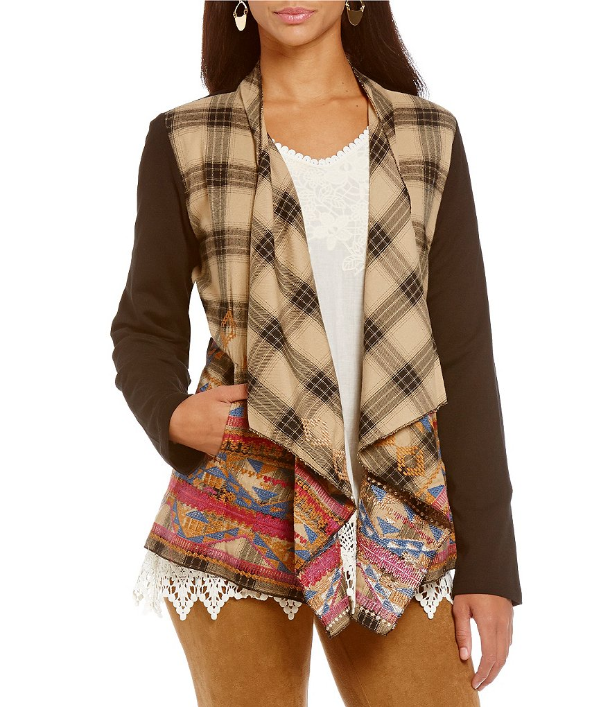 James Bryan Plaid Open Front Embroidered Sleeveless Cardigan