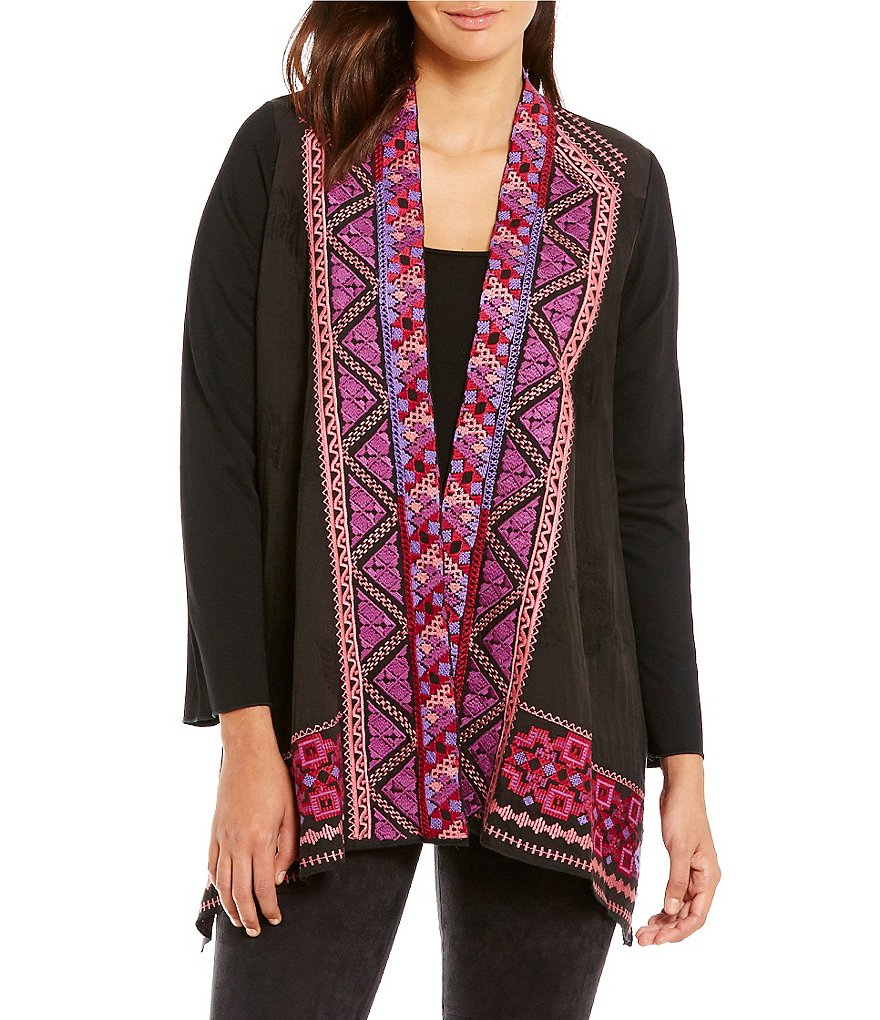 James Bryan Tribal Embroidered Open Front Cardigan