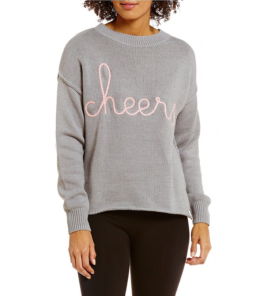 Jasmine & Ginger Cheers Embroidered Sweater-Knit Lounge Top