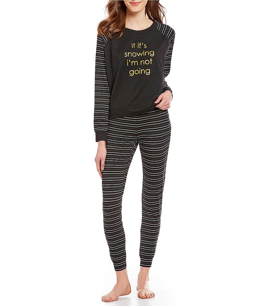 Jasmine & Ginger #double;If It's Snowing I'm Not Going#double; Foil Screen-Print Jersey Pajamas