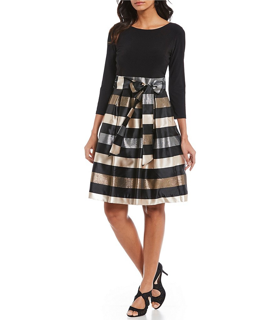 Jessica Howard Striped Skirt Fit & Flare Dress