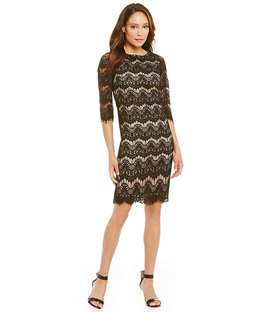 Jessica Howard Petite 3/4 Sleeve Lace Dress