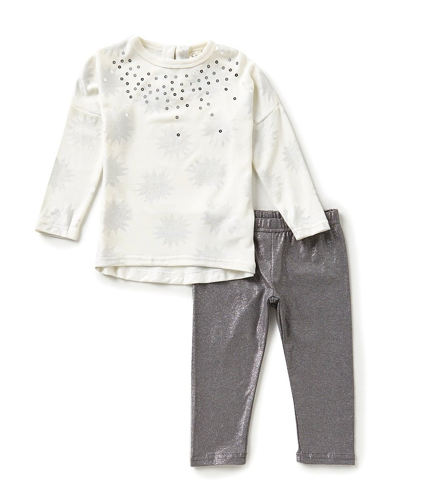 Jessica Simpson Baby Girls 12-24 Months Sequined Metallic Printed Tee and Glittered Leggings Set