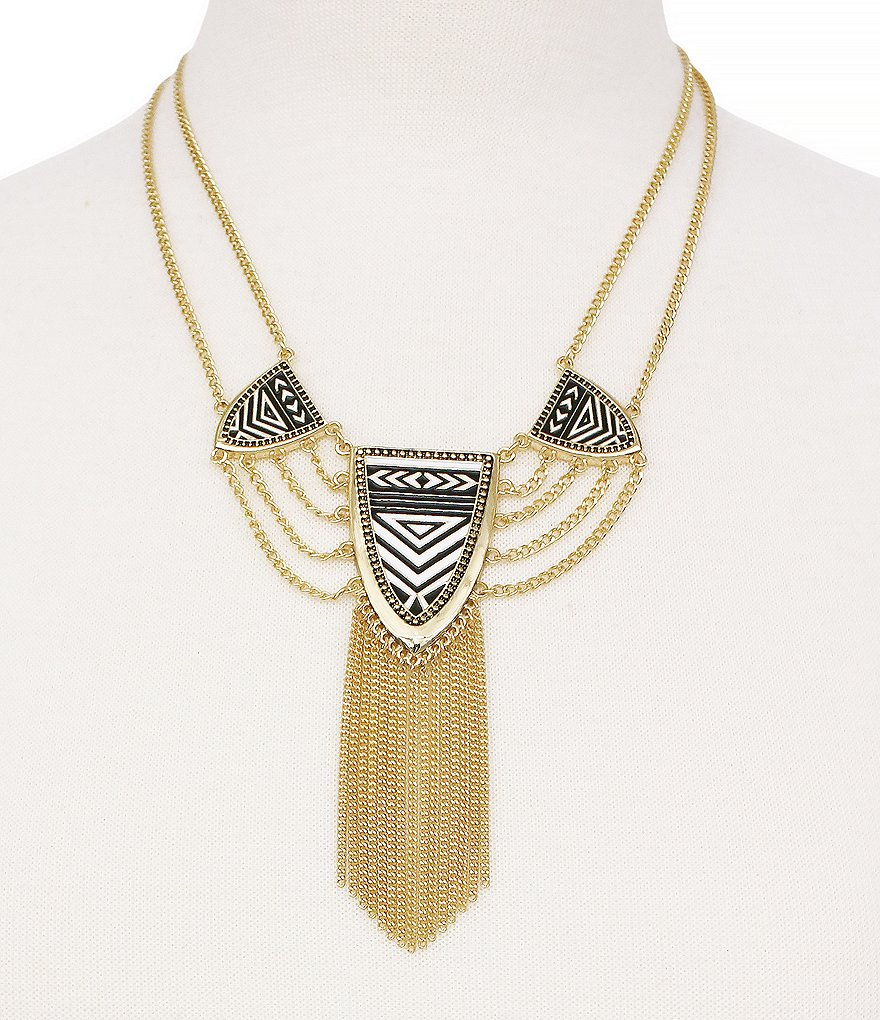 Jessica Simpson Home Grown Tribal Chain-Fringe Statement Necklace
