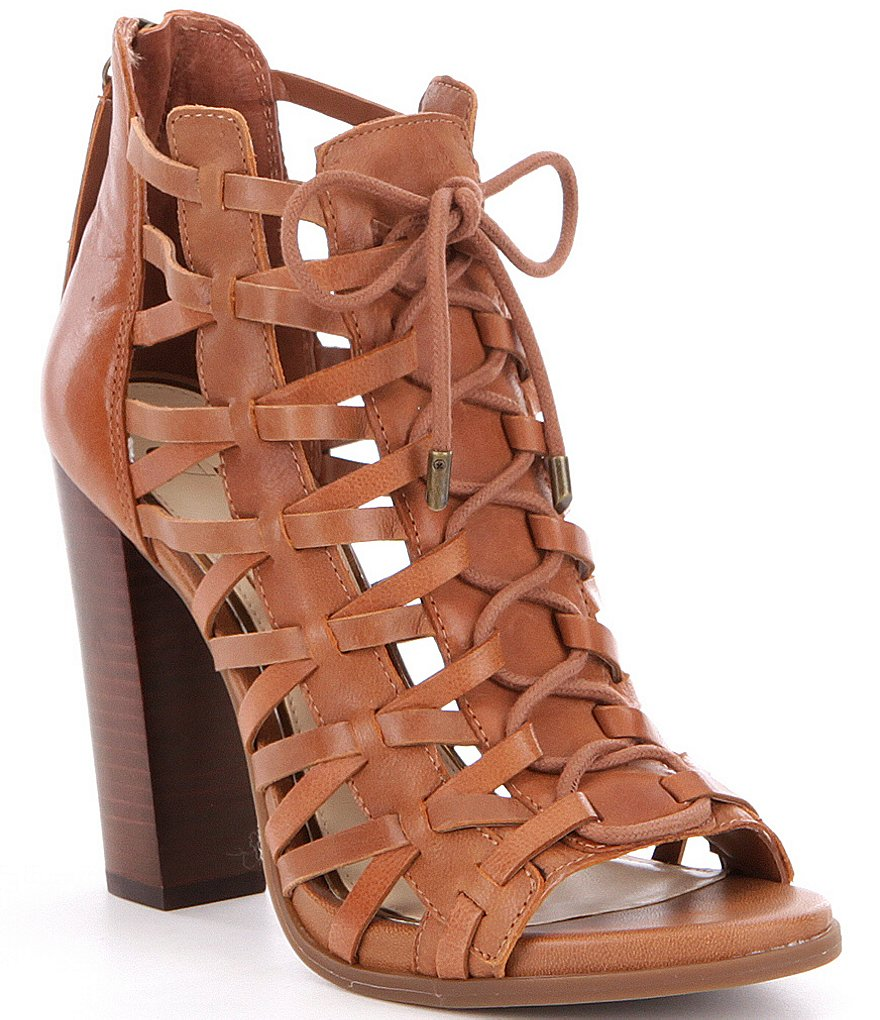 Jessica Simpson Riana Leather Caged Peep-Toe Lace-Up Booties ...