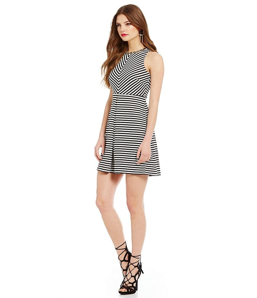Jessica Simpson Textured Stripe Fit and Flare Dress