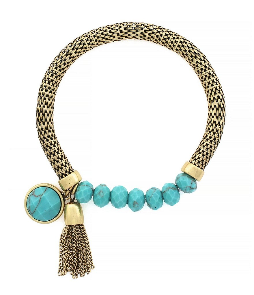 Jessica Simpson Chain-Tasseled Turquoise Stretch Bracelet