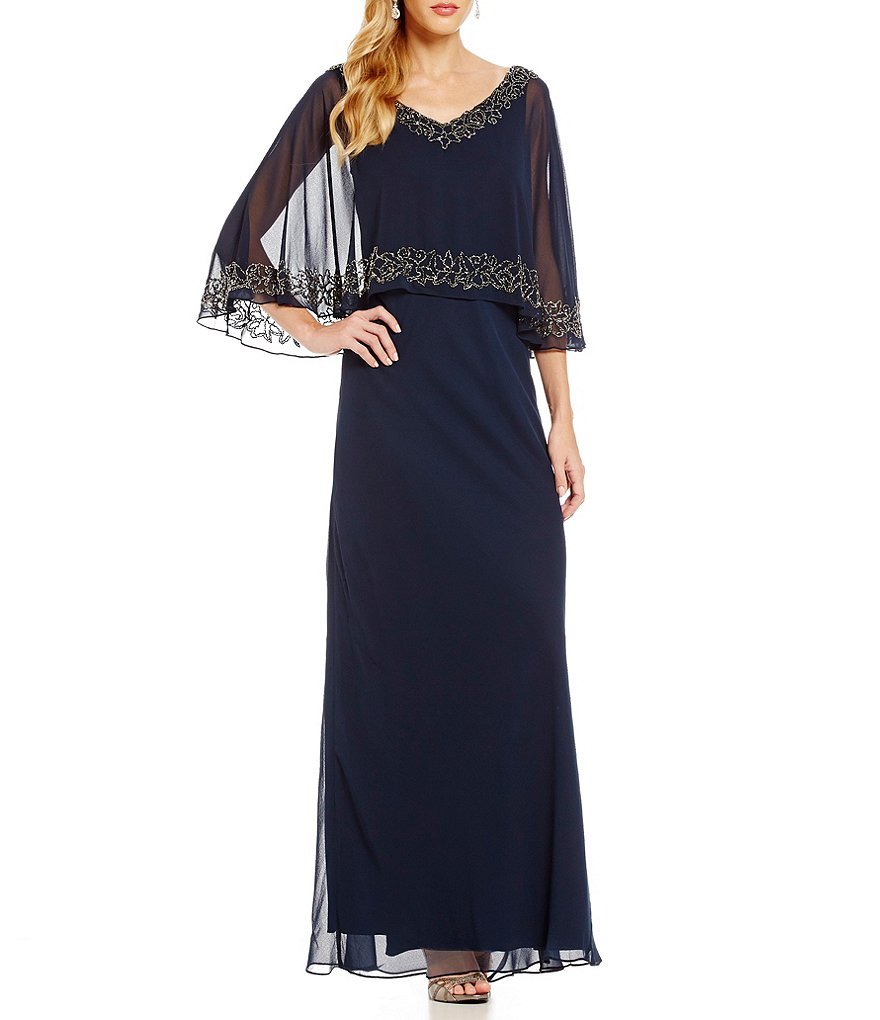 Jkara Beaded V-Neck Beaded Popover Gown