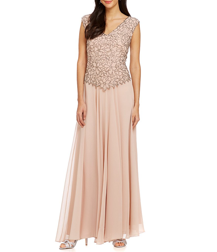 Jkara Chiffon Beaded Bodice Gown