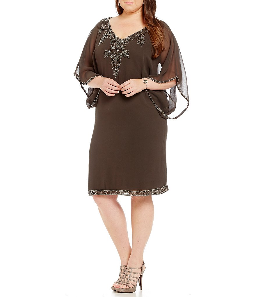 Jkara Plus 3/4-Sleeve Beaded Dress