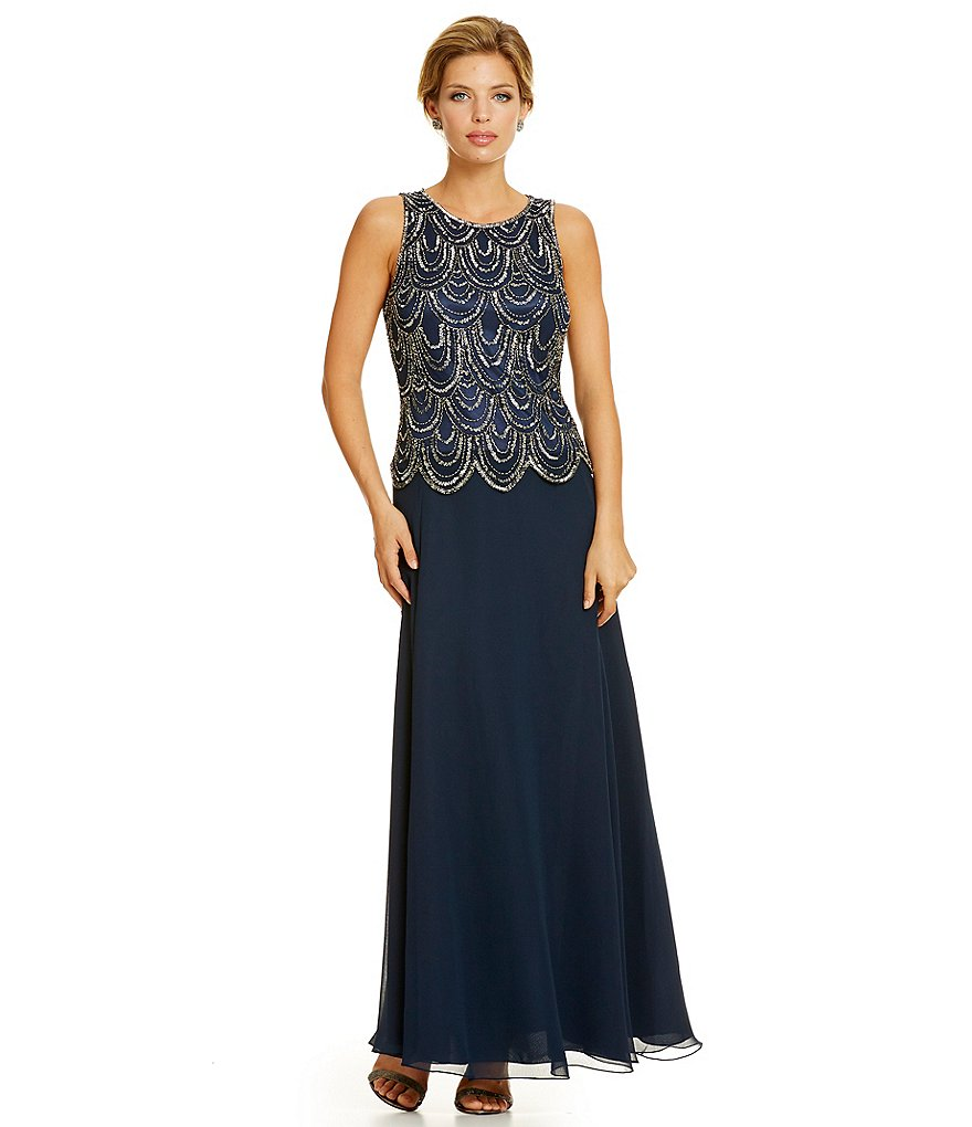Jkara Sleeveless Embellished Chiffon Gown