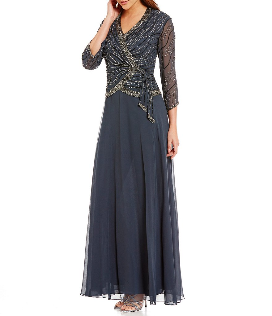 Jkara V-Neck 3/4 Sleeve Beaded Faux-Wrap Chiffon Gown