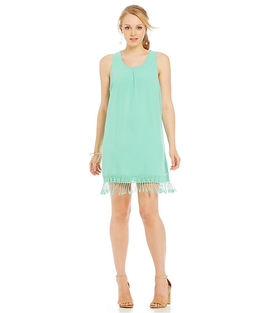 Jodi Kristopher Fringe-Trimmed-Hem Dress