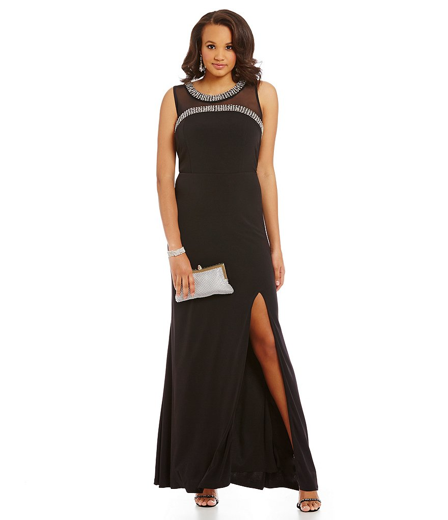Jodi Kristopher Plus Beaded Trim Illusion Yoke Gown