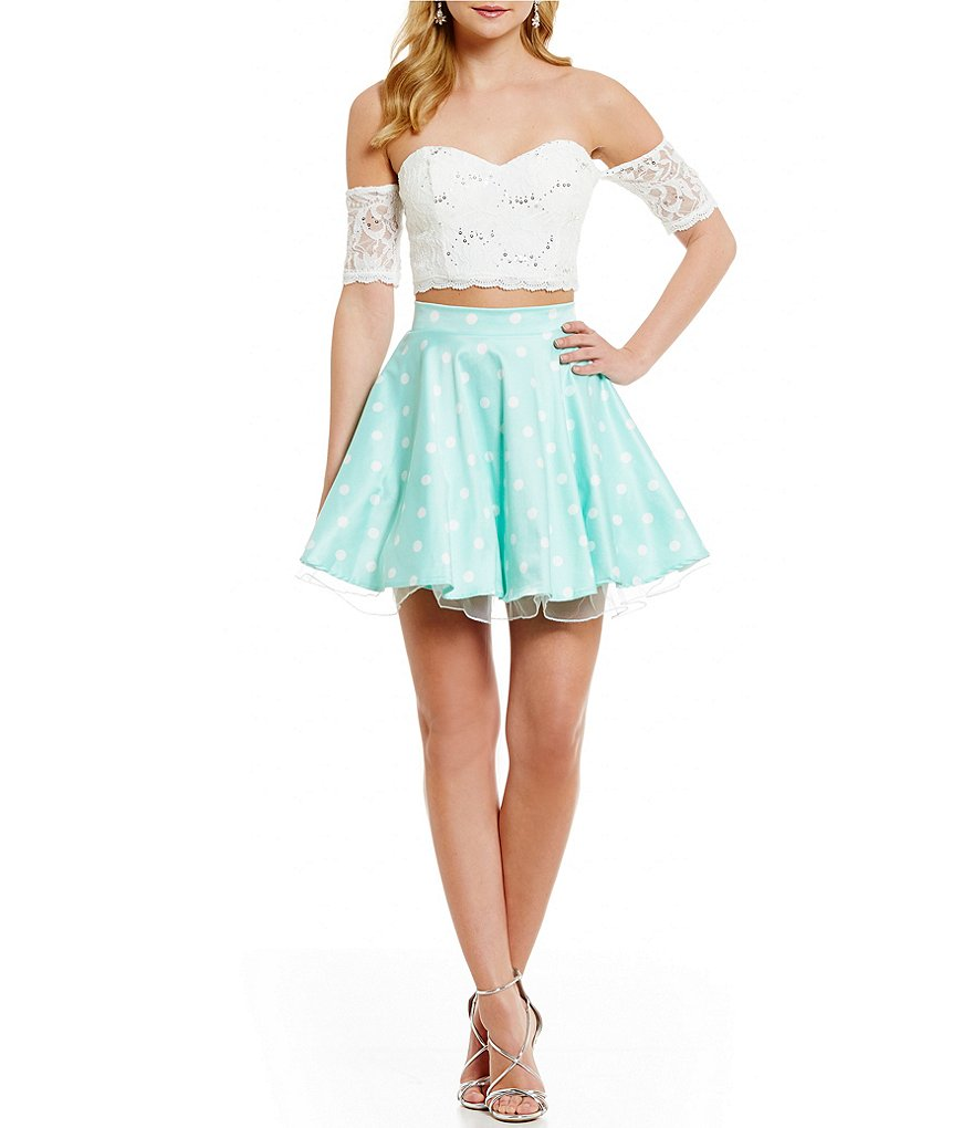Jodi Kristopher Sequin Lace Off-The-Shoulder Top Polka Dot Skirt Two-Piece FIt-and-Flare Dress