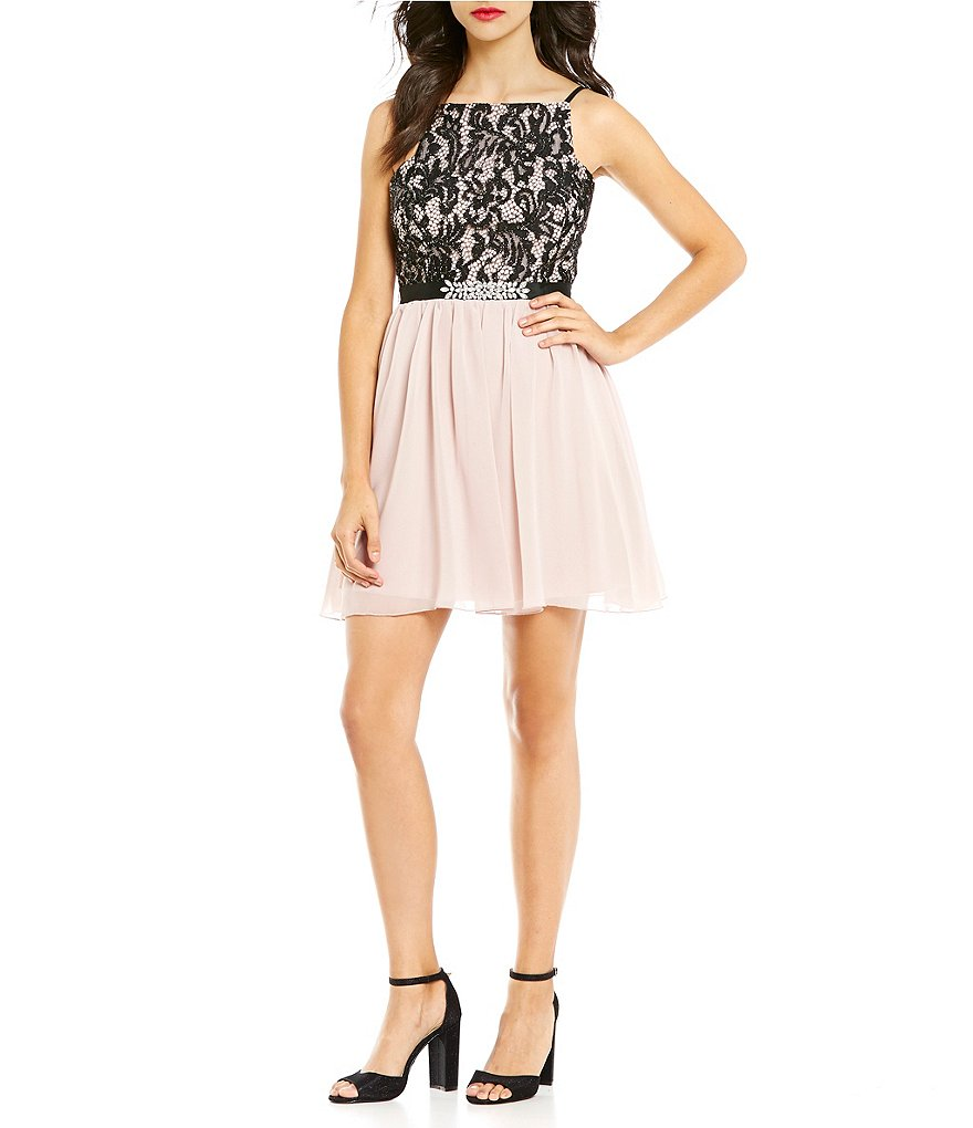 Jodi Kristopher Glitter Lace and Chiffon Jeweled A-line Dress