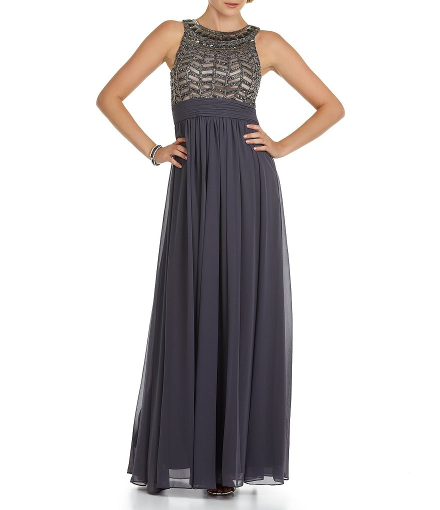 JS Collections Empire Waist Beaded Gown