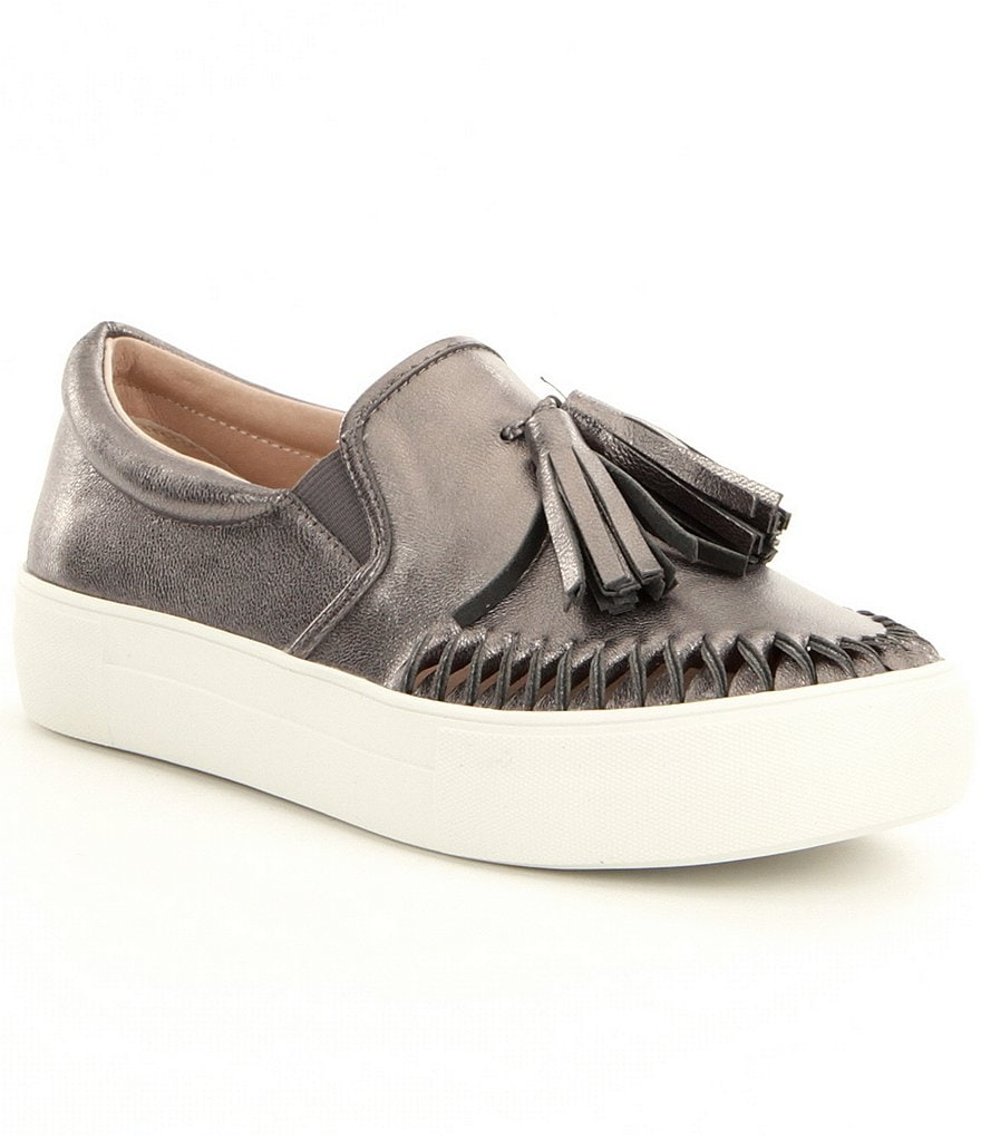 JSlides Aztec Leather Tassel Stitch Detail Slip On Flatform Sneakers