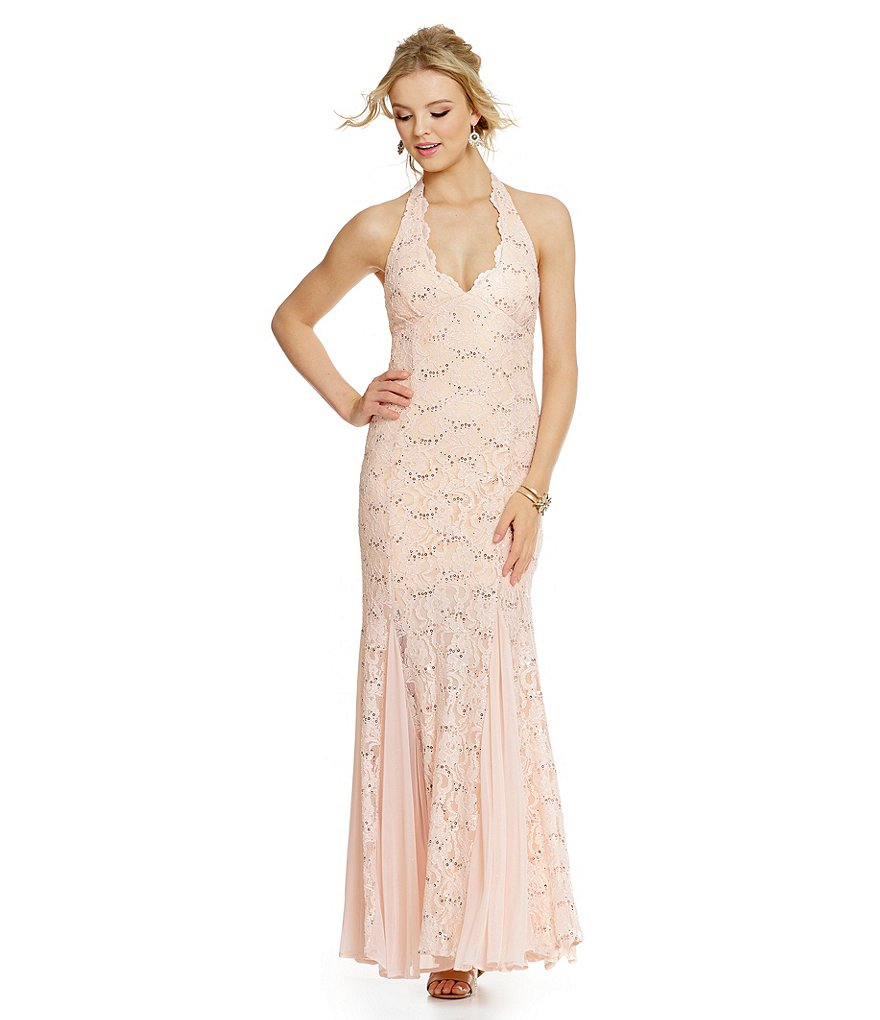 Jump Sequin Lace Halter Mermaid Gown