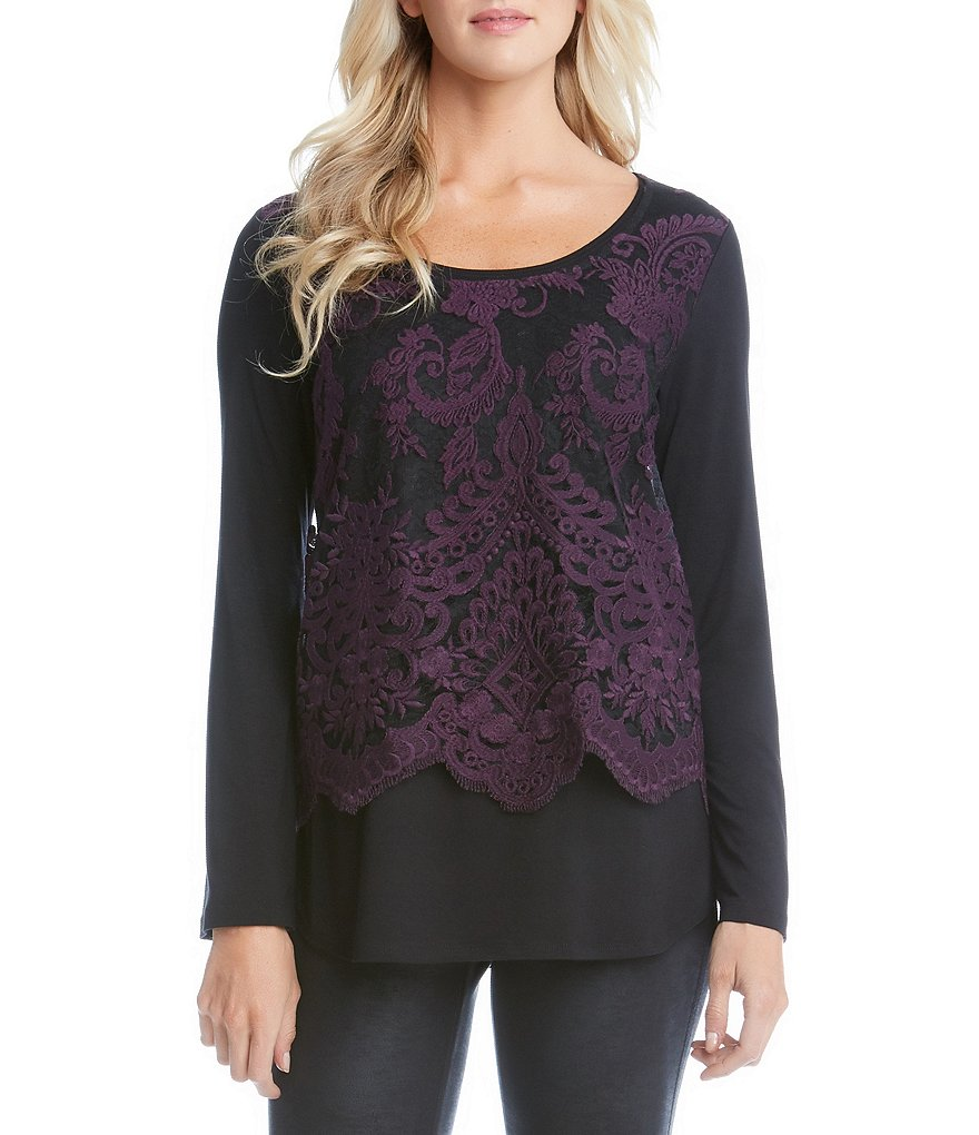 Karen Kane Flare Sleeve Embroidered Lace Top