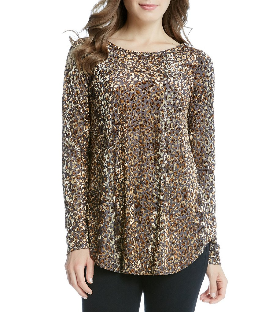 Karen Kane Leopard Burnout Knit Shirttail Long Sleeve Tee